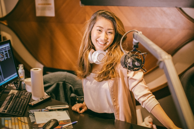 "Charmian Tan hosts 987FM's ""The Pantry Dash"" and enjoys having conversations with her listeners who are preparing for a day's work ahead. PHOTO: JERLIN HUANG"