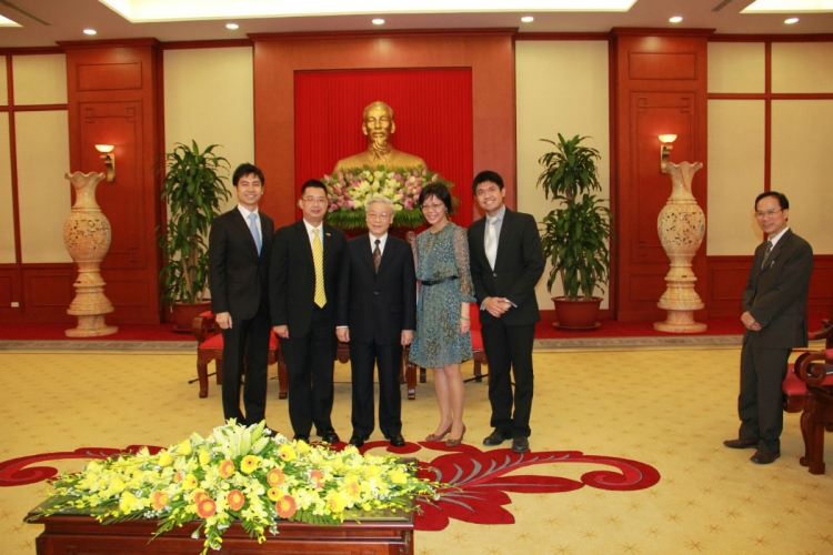 Low at a diplomatic exchange in 2011 with Mr Nguyen Phu Trong, General Secretary of the Communist Party of Vietnam (middle) PHOTO COURTESY OF LOW JIA RONG