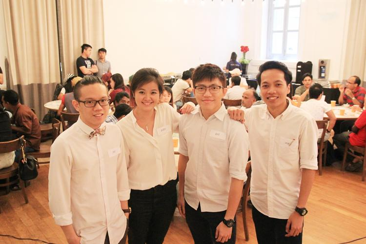 Amos Chen, Andrea Lim, Kenji Kwok and Shahrin Izhar (CS'16, pictured left to right) make a  statement by lending voices to migrant workers. PHOTO: LU YAWEN