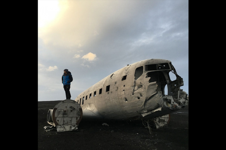 Tay occasionally finds rare artefacts such as this wrecked aircraft in Iceland. PHOTO COURTESY OF HENDRIC TAY