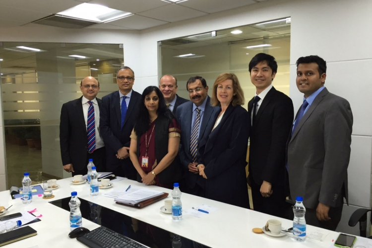 Preparation for ICANN's international summit in India began in July, where Low met Aruna Sundararajan, Secretary at the Ministry of Electronics & Information Technology, India (third from left) PHOTO COURTESY OF LOW JIA RONG