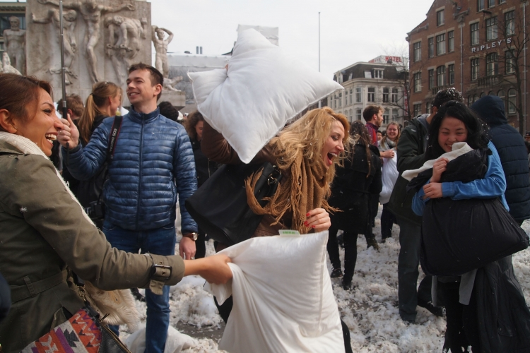 At her first stop of a month-long trip around Europe in April this year, she stumbled upon World Pillow Fight Day in Amsterdam. PHOTO COURTESY OF CLARA LOCK